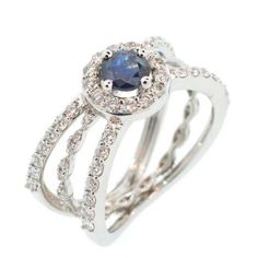 Double Lu' engagement ring from Alessa Blue sapphire centre stone White diamonds White gold White Gold Wedding Rings, Diamond Wedding Rings, Bridal Rings, White Gold Rings, Bridal Jewelry, Unusual Engagement Rings, Colored Engagement Rings, Rose Gold Engagement Ring, Engagement Jewellery