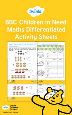 Engaging, differentiated and challenging - these topical BBC Children in Need maths activity sheets would make an ideal maths lesson for BBC Children in Need week. Teaching Math, Maths, Activity Sheets, Math For Kids, Children In Need, Addition And Subtraction, School Resources, Differentiation, Math Lessons