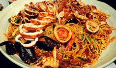 해물찜 HAEMOOL JJIM (Seafood Stew/Steam) @ 생태마루 (SaengTae MahRoo) Korean seafood restaurant in Seoul, South Korea. Huge amounts of seafood are steamed and simmered slowly with bean sprouts, other vegetables, and a delicious spicy sauce.