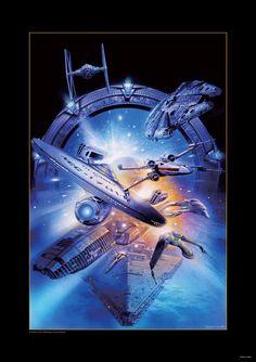 USS Enterprise, Millenium Falcon, TIE Fighter, X-Wing, Star Destroyer, Stargate Portal, and Battlestar Galactica by Tsuneo Sanda *