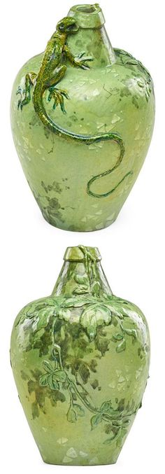 """EDMOND LACHENAL (1855 - 1948) ceramic vase with lizard and leafy branch, France, ca. 1899, Rectangular LACHENAL mark to base, incised V 3/0, 11 1/4"""" x 7"""""""