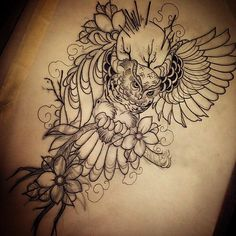 This neotradtional pencil on paper owl linework design is the latest artwork of Dask from SakeTattooCrew! Owls are a beloved theme in this particular genre of art and Dask is bringing the neotrad essence with the most artistic way within this super stylish composition!