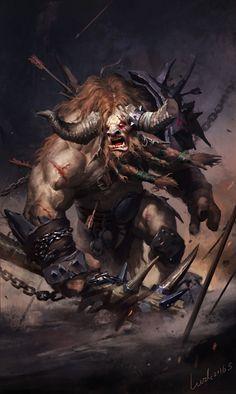 The Art of Many — Artist: Li Wenda Title: Evil Minotaur Very. Dark Fantasy Art, Fantasy Rpg, Fantasy Artwork, Fantasy World, Fantasy Warrior, Dark Art, Mythological Creatures, Fantasy Creatures, Character Illustration