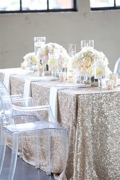 Sequin and glitter tablecloth for elegant wedding table setting. |  Photo: Yasmin Khajavi of Portland OR #AspirationalBride
