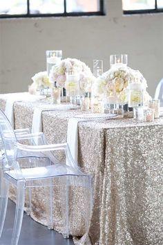 Sequin and glitter tablecloth for elegant wedding table setting. |  Photo: Yasmin Khajavi of Portland OR #AspirationalBride