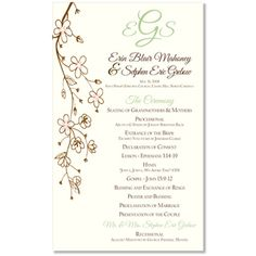 Cherry Blossom Program Unique Wedding By The Green Kangaroo Catholic Company