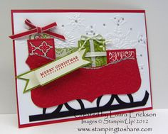 Top Note Die to make the sleigh and the Lattice Die to make the supports for the runners. All the presents created from and layered onto scrippy scraps and then accented with ribbon and twine