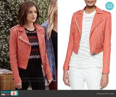Aria's red leather jacket on Pretty Little Liars. Outfit Details: https://wornontv.net/58197/ #PLL Buy it here: http://wornon.tv/36820