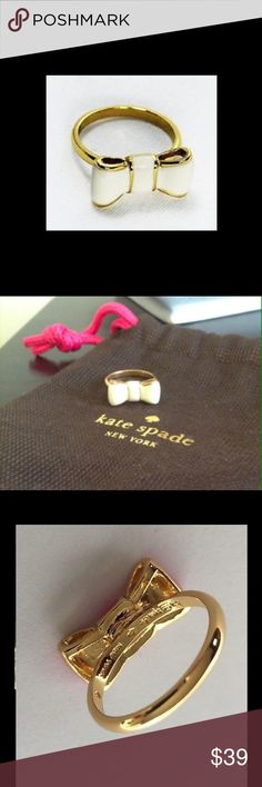 """Kate Spade """"Take a Bow"""" Ring Authentic KSNY cream and gold enameled bow ring in size 7. No tarnish or damage, in excellent used condition. kate spade Jewelry Rings"""