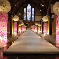 Lighted aisle decor for ceremony  www.atimelesscelebration.com