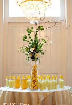 Favor Table with #yellow bottled lemonade.