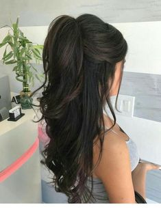 Mousse on damp hair. Blow dry hair with a round brush. Curl the hair . - Mousse on damp hair. Blow dry hair with a round brush. Curl the hair … – ponytail hairstyles, - Wedding Hair And Makeup, Hair Makeup, Ponytail Wedding Hair, Long Curly Wedding Hair, Long Hair Dos, Curly Prom Hair, Curls For Long Hair, Wedding Veils, Thick Hair