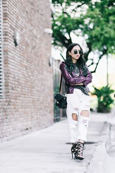 Ripped Boyfriend Jeans, Ripped Jeans, Lace Tights, Old Models, Mermaid Hair, Lace Up Sandals, Shoe Dazzle, Jeans Brands, Outfit Posts