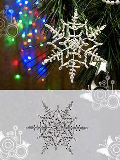 15 crochet snowflakes patterns- free patterns – Turquoise with vanilla - Her Crochet Crochet Snowflake Pattern, Crochet Snowflakes, Crochet Motif, Crochet Patterns, Snowflake Craft, Christmas Snowflakes, Christmas Ornaments, Crochet Winter, Crochet Christmas