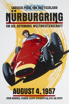 Nurburgring, Alfa Romeo Grand Prix 250F, Fangio by © Dennis Simon. This poster is available at centuryofspeed.com