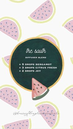 the south diffuser blend summer essential oil diffuser blend recipe Joy Essential Oil, Essential Oil Diffuser Blends, Young Living Essential Oils, Bergamot Essential Oil, Kylie, Wellness, Just In Case, Young Living Joy, Diffuser Recipes