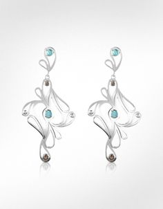 Sho London Mari Splash Sterling Silver Drop Earrings
