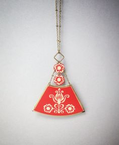 Vintage 1950s recycled tin necklace, red triangle dangle flower pendant, metal jewelry, upcycled recycled repurposed by CellarDoorShoppe on Etsy