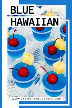 Looking for easy jello shots for your next party? Don't miss these Blue Hawaiian Jello Shots! Blue raspberry mixed with pineapple for a fun summer shot! Blue Hawaiian Jello Shots, Easy Jello Shots, Summer Shots, Coconut Rum, Raspberry, Pineapple, Cocktails, Party, Fun