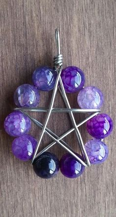 ☆ Purple Quartz Large Wire Wrapped Pentagram Pendant ~:¦:~ Etsy Shop: TheSkeletonsKey ☆ use the same principle for a triforce? Wire Crafts, Jewelry Crafts, Handmade Jewelry, Wire Wrapped Jewelry, Wire Jewelry, Jewellery, Wiccan Crafts, Purple Quartz, Wiccan Jewelry