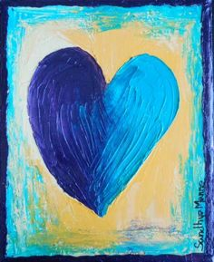 """""""Young at Heart"""" is a beautiful artwork of  a Heart with two halves... The art is a part of the """"Hearts"""" series, done on Canvas and has textures hearts.   """"Young at Heart"""" has ahalf drak blue and half light blue heart with ruggdy borders on a yellow textured  background."""
