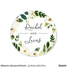 Alabaster | Botanical Wreath Wedding Classic Round Sticker Seal your invitation envelopes or favors with these elegant botanical and floral wedding stickers featuring your names framed by a watercolor wreath of lush green foliage and white flowers. Coordinates with our Alabaster wedding collection.