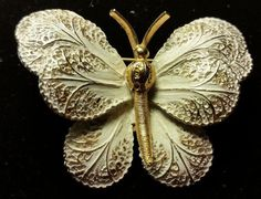 Signed White Silver & Gold Filigree Butterfly Brooch Mode Art Non-Magnetic Pin in Jewelry & Watches | eBay