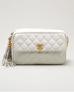 Chanel Vintage White Quilted Leather Camera Bag