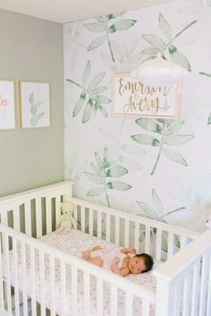 baby girl nursery room ideas 173810866855770428 - Soothing Tropical Nursery with Hints of Pink – pink and light green nursery Source by Baby Wallpaper, Green Leaf Wallpaper, Baby Girl Nursery Wallpaper, Wallpaper Wallpapers, Rose Nursery, Nursery Neutral, Nursery Room, Calming Nursery, Hipster Nursery