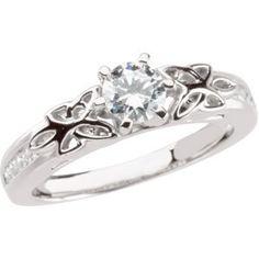 14k white gold semi mount celtic diamond engagement ring diamond designshttp - Puzzle Wedding Rings