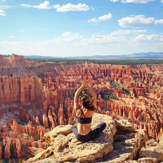 """""""Sitting here made me feel so small, but so connected to the earth,"""" the yogi writes of her moment of stillness near Bryce Canyon in southern Utah. - The 25 Most Epic Yoga Pics Worldwide Yoga Photos, Yoga Pictures, Yoga Pics, Yoga Nature, Partner Yoga, Family Road Trips, Yoga Photography, Bryce Canyon, Yoga Retreat"""