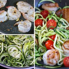 Zucchini Noodles with lemon and shrimp