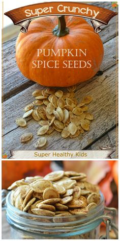 Try roasting some pumpkin seeds this fall!  We made some super crunchy, super tasty, and super amazing pumpkin pie spiced seeds.  We add it to trail mix, eat straight out of the jar, or sprinkled on top of yogurt! SO YUMMY! #healthysnacks #pumpkinseeds