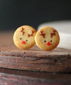 Christmas reindeer cookie studs, handmade with polymer clay, miniature food jewelry, cute clay charms, christmas charms, christmas gifts