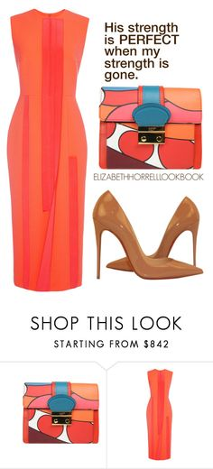 """""""LIZ"""" by elizabethhorrell ❤ liked on Polyvore featuring RED Valentino, Roksanda and Christian Louboutin"""