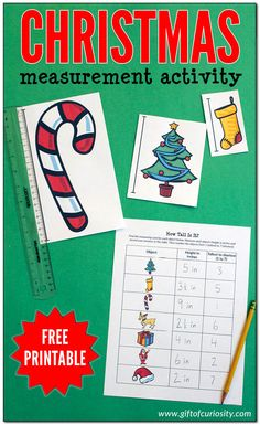 A FREE Christmas measurement activity for holiday learning fun in your homeschool. Christmas Activities For Kids, Science Activities For Kids, Free Christmas Printables, Hands On Activities, Free Printables, Toddler Christmas, Preschool Ideas, Measurement Worksheets, Kids Pages