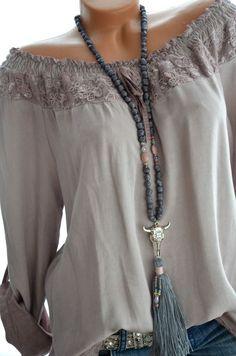 ITALIENISCHE MODE Carmen Spitzen BOHO Tunika Bluse langarm 36 38 40 42 MAUVE Neu in ...  #bluse #carmen #Damenboden #italienische #langarm #mauve #spitzen #tunika
