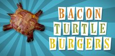 The Bacon Turtle burger contains no turtle meat, it just looks like one! It does contain ground beef, bacon, and hot dogs. You can add a bun if that sounds like too much meat. The complete recipe is at Bacon Today. Bacon Recipes, Burger Recipes, United States Of Bacon, Turtle Burger, Pork Dishes, Food Crafts, Perfect Food, Creative Food, Carne