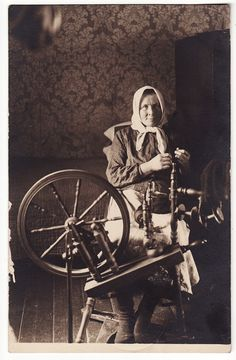 1910s Imperial Russia Old Smiling Lady Making Wool with Distaff
