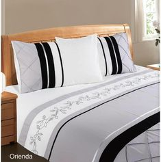 Embellished duvet cover plus 2 matching pillowcases Fabric: Soft touch microfibre Select size from drop down menu Duvet Covers, Bed Pillows, Pillow Cases, Furniture, Home Decor, Pillows, Decoration Home, Room Decor, Home Furnishings