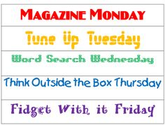 First Grade Wow: think outside the box...great for morning routines