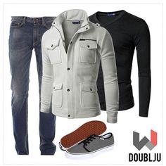 Doublju Mens Highneck Zip Up Jacket #doublju #doubljumen #fashion #mensstyle  #fallstyle #winter #fall #dailylook