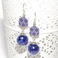 Boucles d'oreilles globes verre strass bleus et sequins faits main asanoha bleus