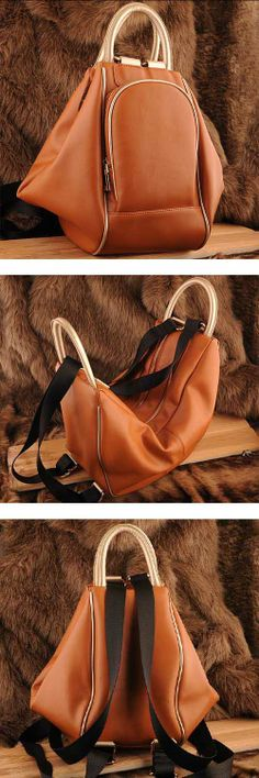 Womens double style #brown leather shoulder bag and #backpack design