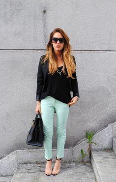 mint jeans, black blazer