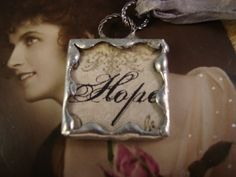 HOPE  Soldered Glass Art Pendant by victoriacharlotte on Etsy, $5.75