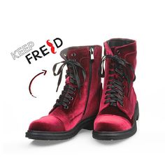 Better than red velvet cake? Τα βελούδινα μποτάκια #KeepFred on Sale! Fall Winter, Autumn, Every Woman, Combat Boots, Bootie Boots, Booty, Casual, Shoes, Women