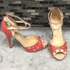 Ivanka Trump Peep Toe Pump ** BRAND NEW WITH BOX / Ivanka Trump studded peep toe pump in coral + beige + gold studs / BEAUTIFUL fashion forward fun shoe ** Ivanka Trump Shoes Heels