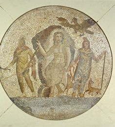 Mosaic depicting Mithras 1st Century AD Roman Found in Egypt (?) Mithras was a Persian creation god, as well as the god of light. Mithraism, the mystery religion associated with him, spread throughout the Roman Empire. Initiation into Mithraism was restricted to men and was especially popular with soldiers in Rome and on the northern frontier during the 2nd and 3rd centuries AD. Source: The Walters Art Museum