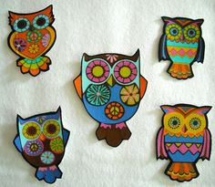 10 Pc Retro Owls Peace Sign No Sew Iron On Appliques by TDFT